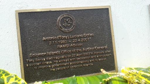 A Memorial Plaque dedicated to former OAG Advisor, the Late Tony Scriva (Photo OAG)